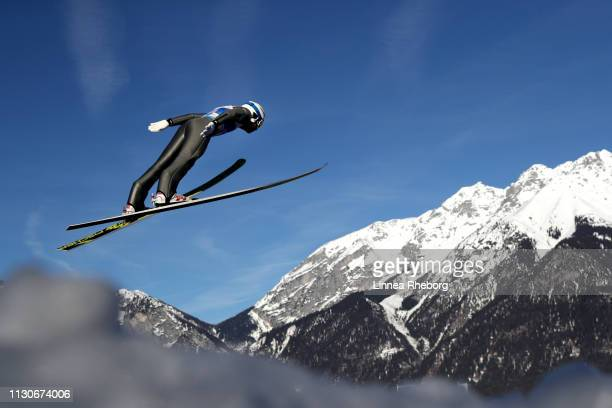 Lukas Runggaldier of Italy jumps during the ski jumping training for the Nordic Combined ahead of the FIS Nordic World Ski Championships on February...