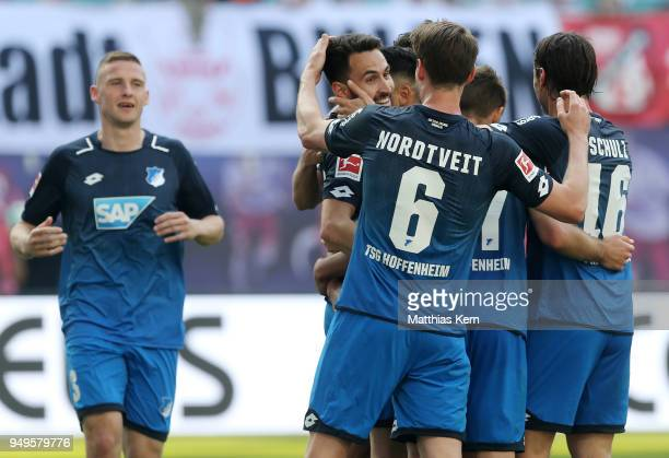 Lukas Rupp of Hoffenheim jubilates with team mates after scoring the sixt goal during the Bundesliga match between RB Leipzig and TSG 1899 Hoffenheim...