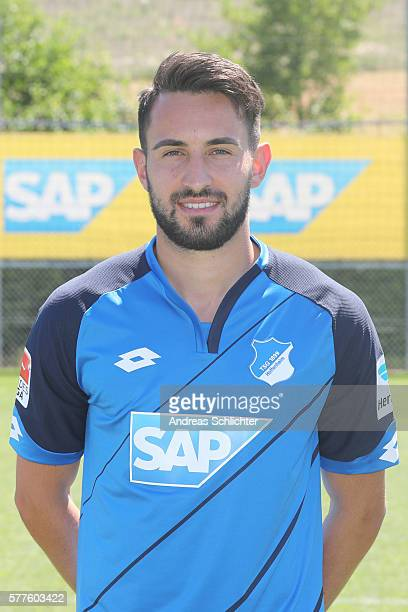 Lukas Rupp poses during the offical team presentation of TSG 1899 Hoffenheim on July 19 2016 in Sinsheim Germany