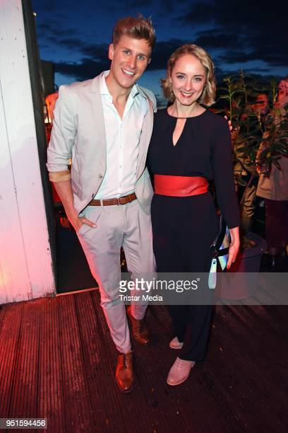 Lukas Sauer and AnneCatrin Maerzke attend the BUNTE New Faces Award Film at Spindler Klatt on April 26 2018 in Berlin Germany