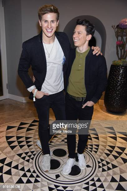 Lukas Sauer and his boyfriend Henrik Hees attend the Green Carpet Lounge hosted by the Ustinov Foundation on February 16 2018 in Berlin Germany