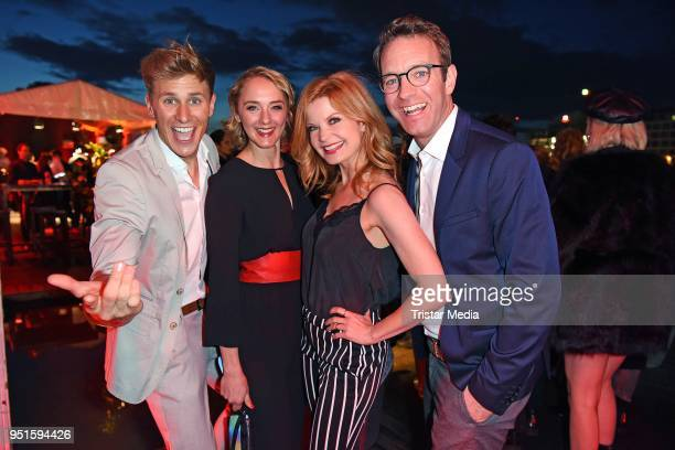 Lukas Sauer, Anne-Catrin Maerzke, Peter Imhof and his wife Eva Imhof attend the BUNTE New Faces Award Film at Spindler & Klatt on April 26, 2018 in...