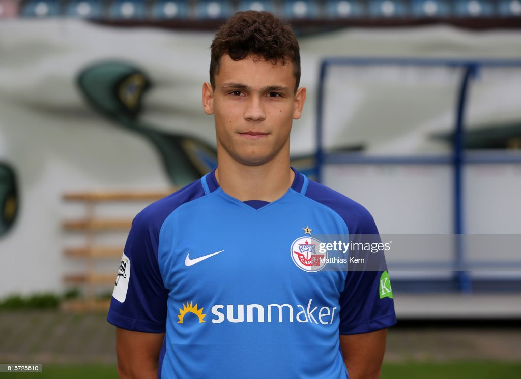Lukas Scherff of FC Hansa Rostock poses during the team presentation at Ostseestadion on July 16, 2017 in Rostock, Germany.