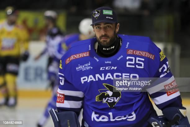 Lukas Schuldenmacher of Villach during the Vienna Capitals v EC VSV Erste Bank Eishockey Liga at Erste Bank Arena on January 18 2019 in Vienna Austria