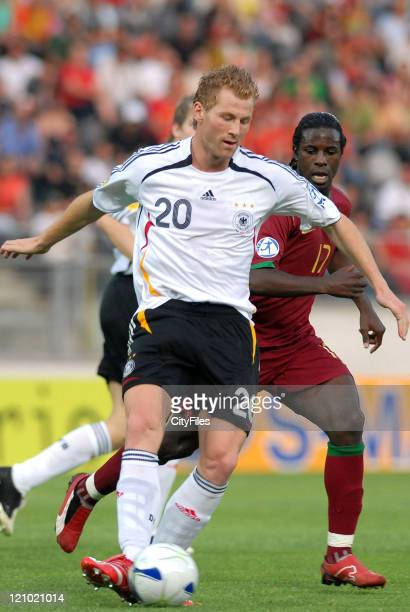 Lukas Sinkiewicz of Germany during the 2006 UEFA European Under 21 Championship Group A match between Germany and Portugal in Guimaraes Portugal on...