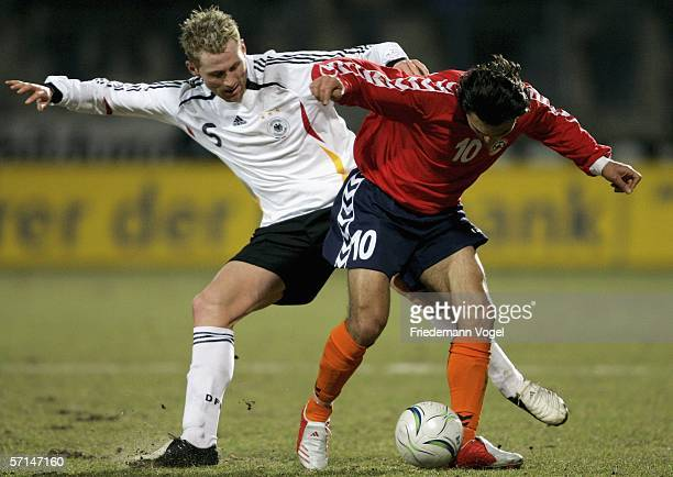 Lukas Sinkiewicz of Germany tussels for the ball with Aram Hakobyan of Armenia during the Under 21 friendly match between Germany and Armenia at the...