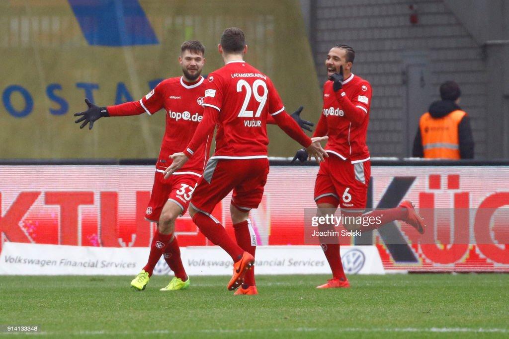 Lukas Spalvis, Stipe Vucur and Leon Guwara of Kaiserslautern celebration the Goal 0:1 during the Second Bundesliga match between Eintracht Braunschweig and 1. FC Kaiserslautern at Eintracht Stadion on February 4, 2018 in Braunschweig, Germany.