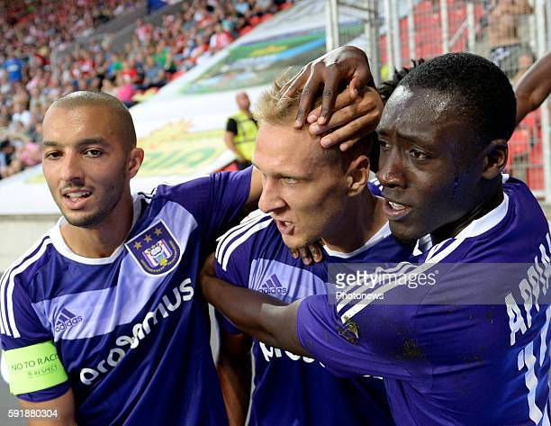 Lukas Teodorczyk forward of RSC Anderlecht celebrates with teammates after scoring pictured during europa league match play off between RSC...
