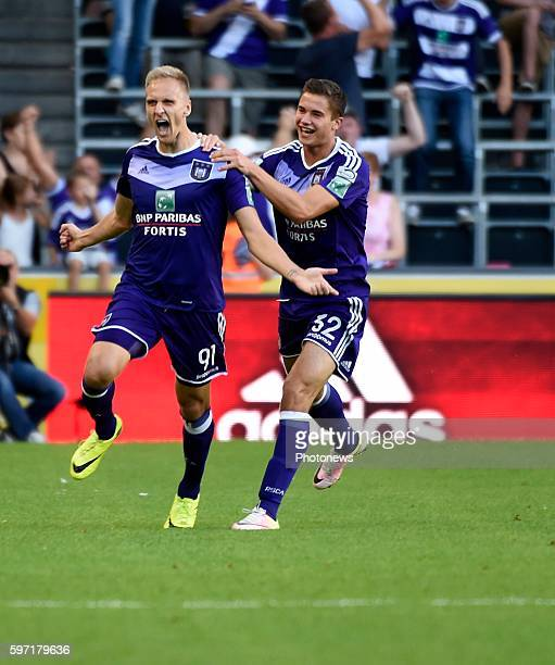 Lukas Teodorczyk forward of RSC Anderlecht celebrates with teammates after scoring pictured during Jupiler Pro League match between RSC Anderlecht...