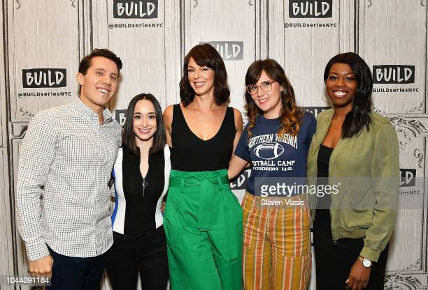 Lukas Thimm Ali Kolbert Pollyanna McIntosh Shannon Coffey and Brittany JonesCooper visit Build Brunch at Build Studio on October 1 2018 in New York...