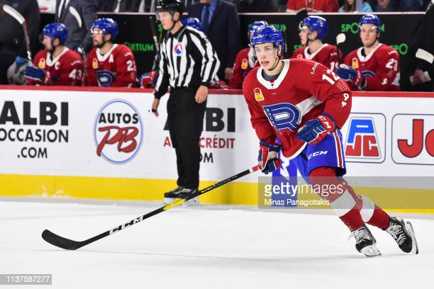 Lukas Vejdemo of the Laval Rocket skates against the Providence Bruins during the AHL game at Place Bell on March 20 2019 in Laval Quebec Canada The...