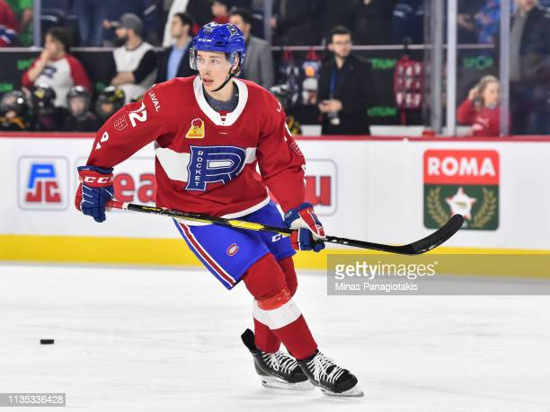 Lukas Vejdemo of the Laval Rocket skates during the warmup prior to the AHL game against the Toronto Marlies at Place Bell on March 8 2019 in Laval...