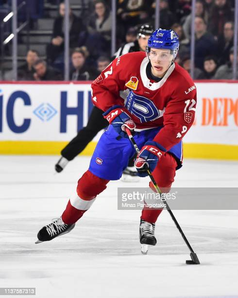 Lukas Vejdemo of the Laval Rocket skates the puck against the Providence Bruins during the AHL game at Place Bell on March 20 2019 in Laval Quebec...