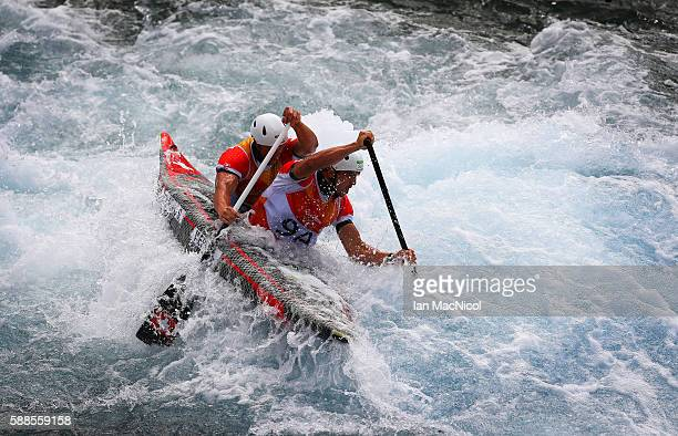 Lukas Werro and Simon Werro of Switzerland compete during the Men's Canoe Double Slalom Final on Day 6 of the Rio 2016 Olympic Games at Whitewater...