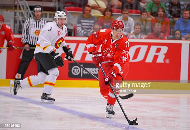 Lukas Zejdl of HC Ocelari Trinec during the Champions Hockey League group stage game between HC Ocelari Trinec and SC Bern on August 21 Trinec, Czech...