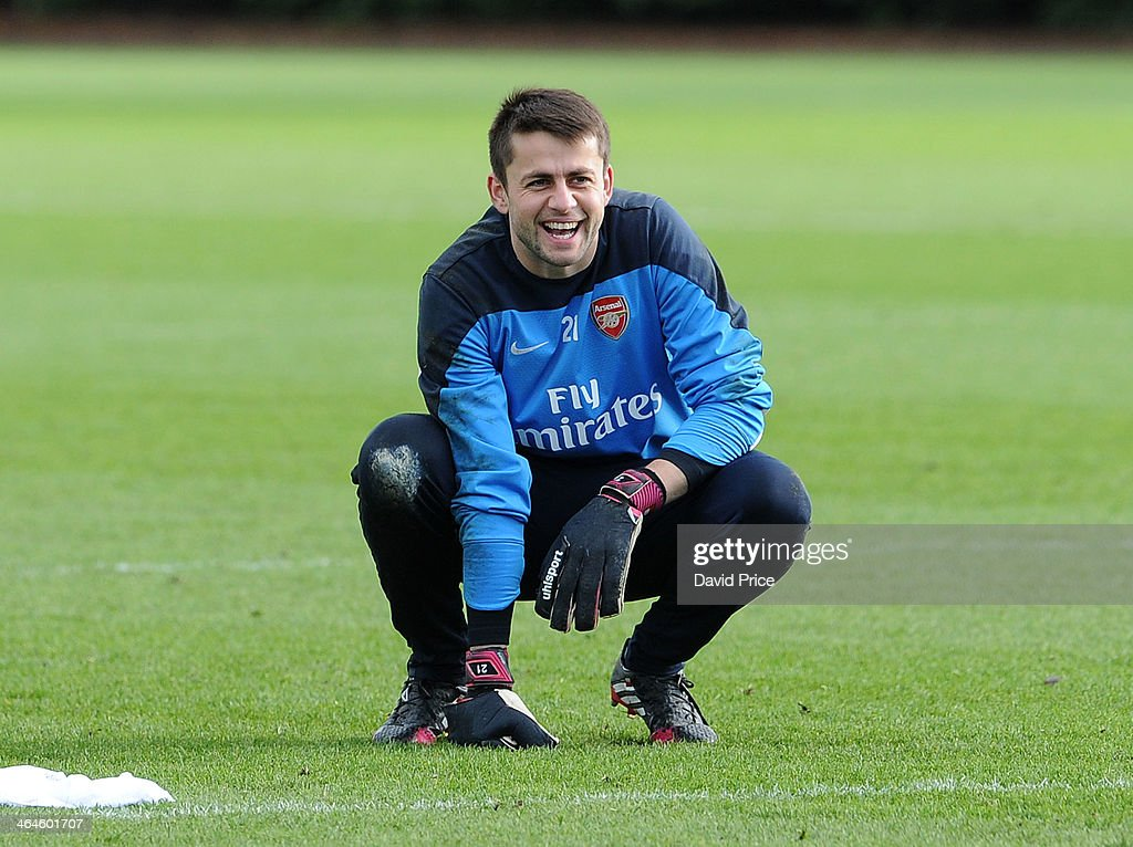 Lukasz Fabainski of Arsenal during Arsenal Training Session at London Colney on January 23, 2014 in St Albans, England.