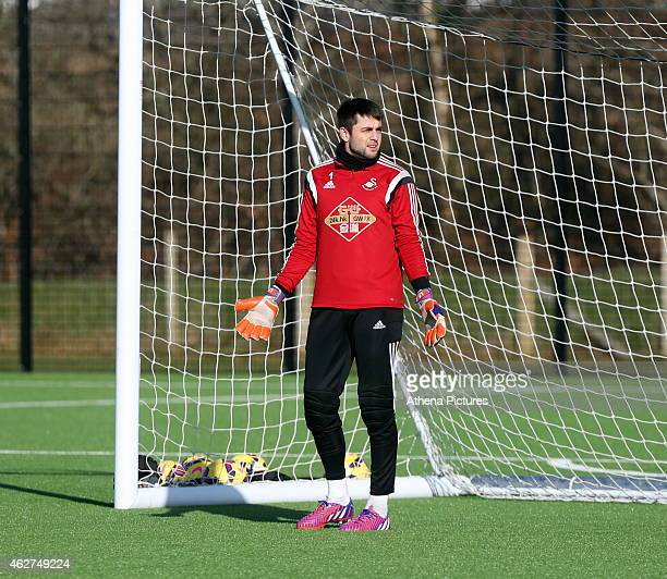 Lukasz Fabianski during a Swansea City training session at Fairwood training ground on February 4 2015 in Swansea Wales