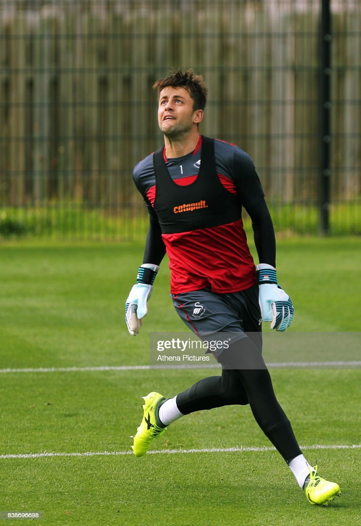 Lukasz Fabianski in action during the Swansea City Training and Press Conference at The Fairwood Training Ground on August 24, 2017 in Swansea, Wales.