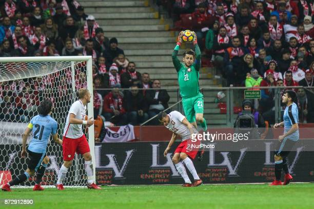 Lukasz Fabianski Jaroslaw Jach in action during the international friendly match between Poland and Uruguay at National Stadium on November 10 2017...