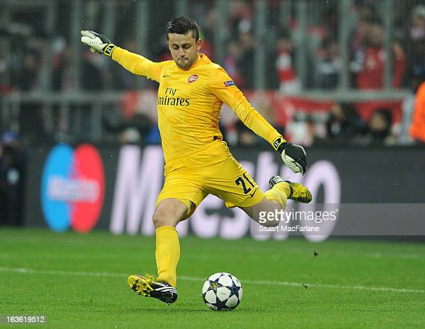 Lukasz Fabianski of Arsenal during the UEFA Champions League Round of 16 second leg match between Bayern Muenchen and Arsenal FC at Allianz Arena on...