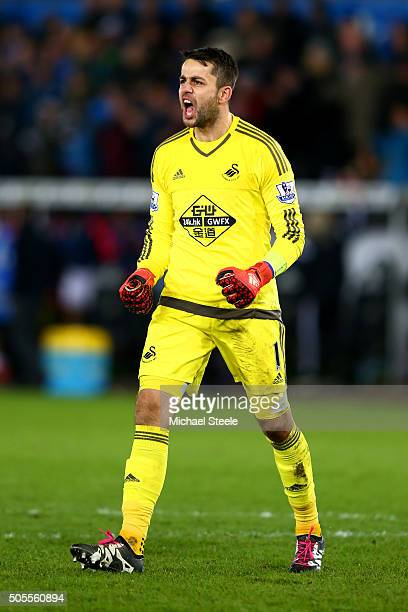 Lukasz Fabianski of Swansea City celdebrates victory at the end of the Barclays Premier League match between Swansea City and Watford at Liberty...