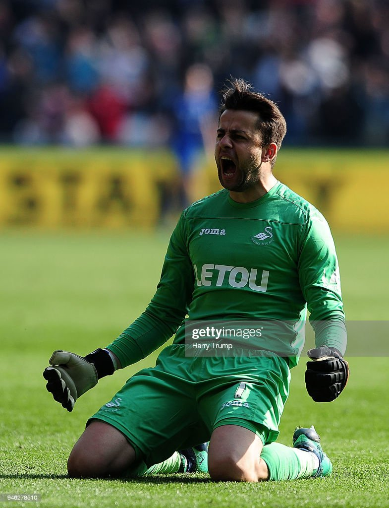 Lukasz Fabianski of Swansea City celebrates as Jordan Ayew of Swansea City(not pictured) scores his sides first goal during the Premier League match between Swansea City and Everton at Liberty Stadium on April 14, 2018 in Swansea, Wales.