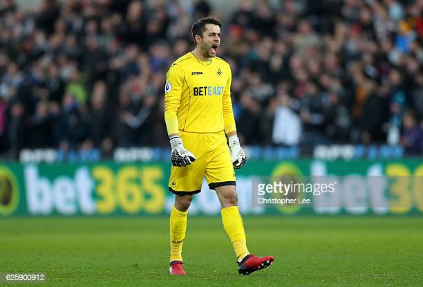 Lukasz Fabianski of Swansea City celebrates his team's first goal during the Premier League match between Swansea City and Crystal Palace at Liberty...