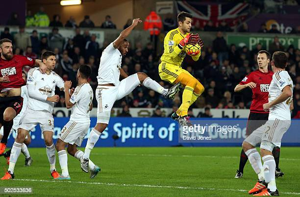 Lukasz Fabianski of Swansea City collects a high ball during the Barclay's Premier League match between Swansea City v West Bromwich Albion at the...
