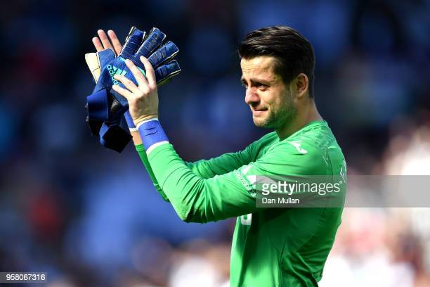 Lukasz Fabianski of Swansea City cries as he leaves the pitch during the Premier League match between Swansea City and Stoke City at Liberty Stadium...