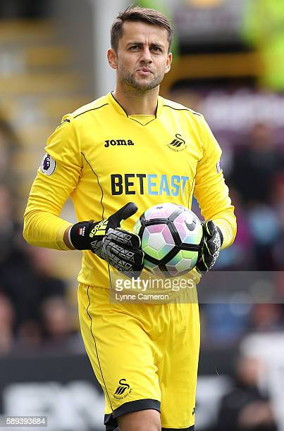 Lukasz Fabianski of Swansea City during the Premier League match between Burnley and Cardiff City at Turf Moor on August 13 2016 in Burnley England