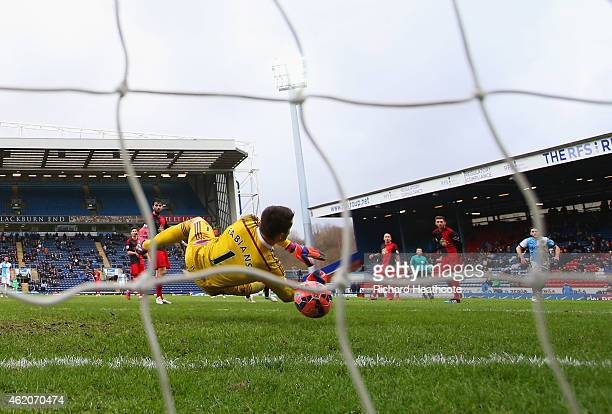 Lukasz Fabianski of Swansea City fails to stop Craig Conway of Blackburn Rovers from scoring their third goal during the FA Cup Fourth Round match...
