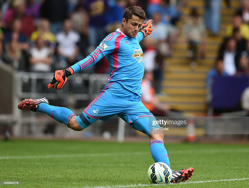 Lukasz Fabianski of Swansea City in action during a pre season friendly match between Swansea City and Villarreal at Liberty Stadium on August 09, 2014 in Swansea, Wales.