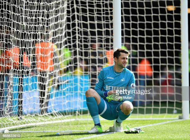 Lukasz Fabianski of Swansea City looks dejected after the Premier League match between Watford and Swansea City at Vicarage Road on April 15 2017 in...