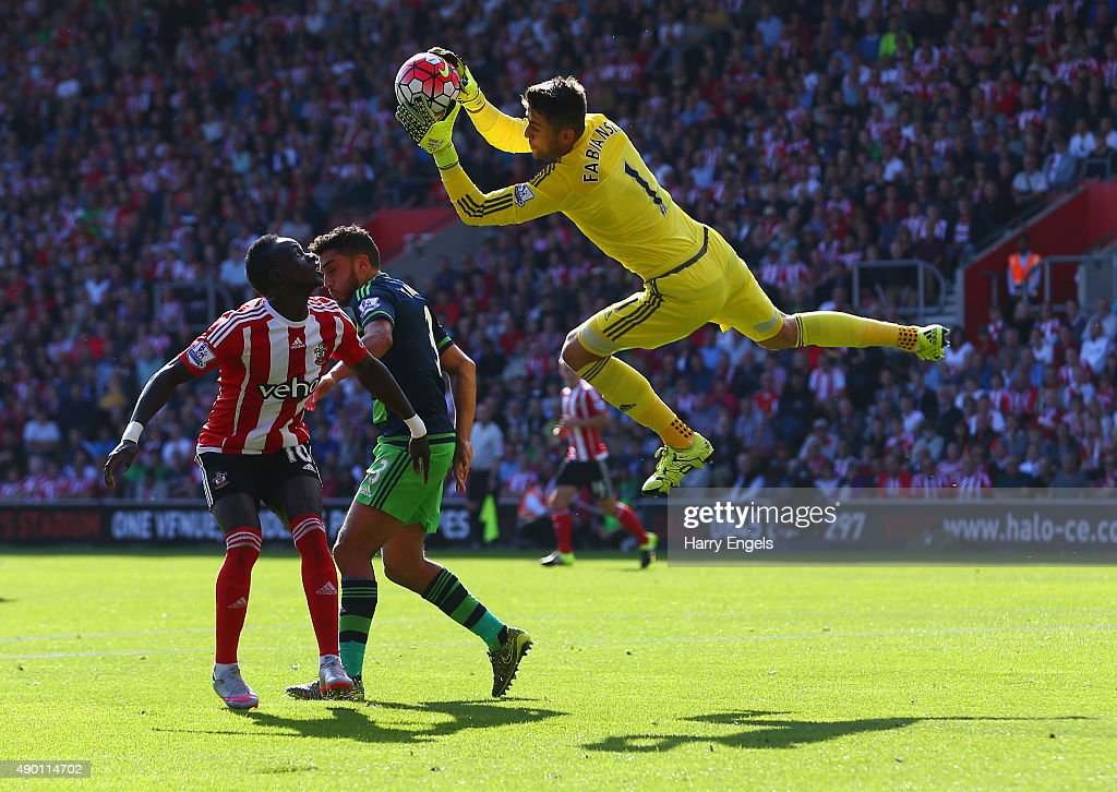 Lukasz Fabianski of Swansea City makes a save during the Barclays Premier League match between Southampton and Swansea City at St Mary's Stadium on September 26, 2015 in Southampton, United Kingdom.