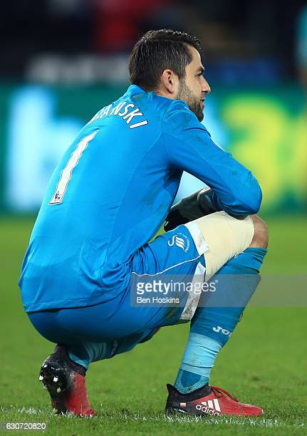 Lukasz Fabianski of Swansea City shows dejection after AFC Bournemouth's third goal during the Premier League match between Swansea City and AFC...