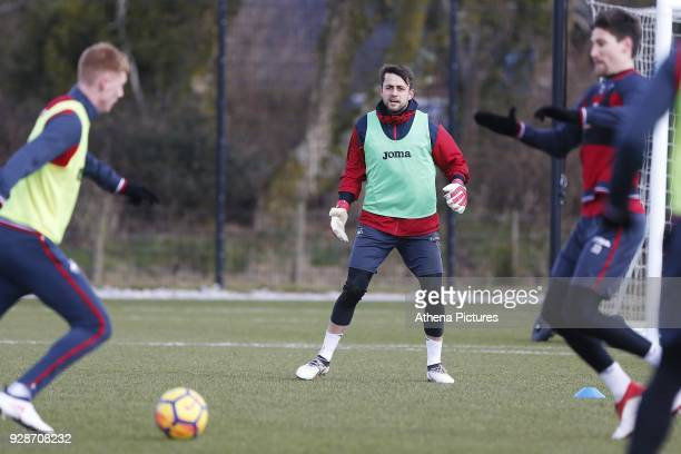 Lukasz Fabianski of Swansea Cityin action during the Swansea City Training at The Fairwood Training Ground on March 7 2018 in Swansea Wales