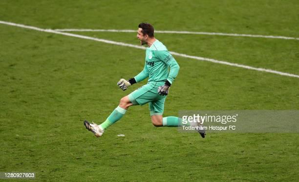 Lukasz Fabianski of West Ham United celebrates after his team's third goal during the Premier League match between Tottenham Hotspur and West Ham...