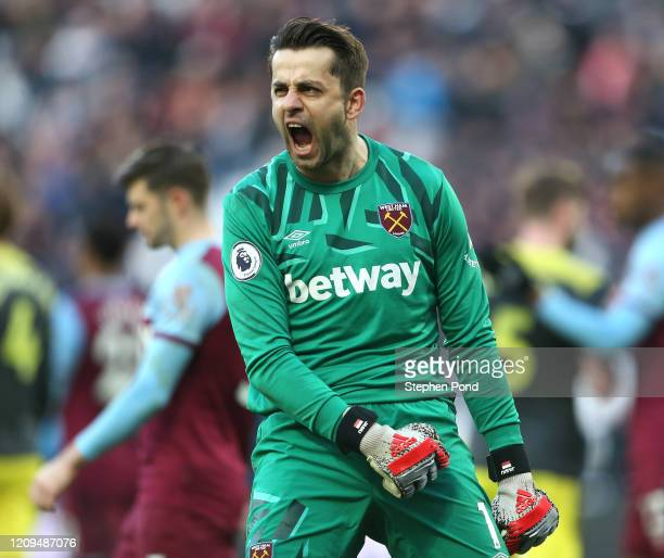 Lukasz Fabianski of West Ham United celebrates following his sides victory after the Premier League match between West Ham United and Southampton FC...