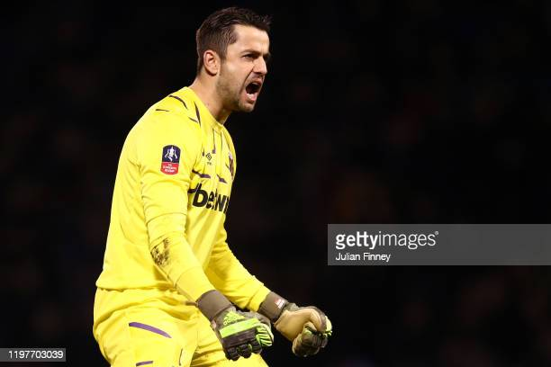 Lukasz Fabianski of West Ham United celebrates his sides second goal during the FA Cup Third Round match between Gillingham FC and West Ham United at...