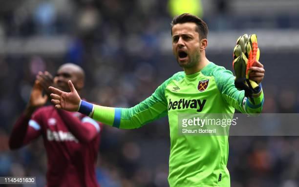 Lukasz Fabianski of West Ham United celebrates victory after the Premier League match between Tottenham Hotspur and West Ham United at Tottenham...