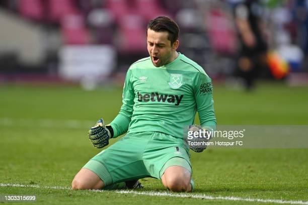 Lukasz Fabianski of West Ham United celebrates victory following the Premier League match between West Ham United and Tottenham Hotspur at London...