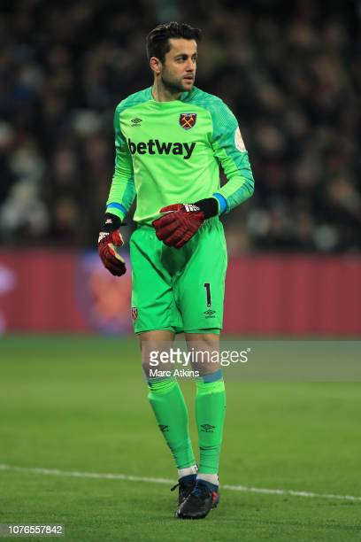Lukasz Fabianski of West Ham United during the Premier League match between West Ham United and Brighton Hove Albion at London Stadium on January 2...
