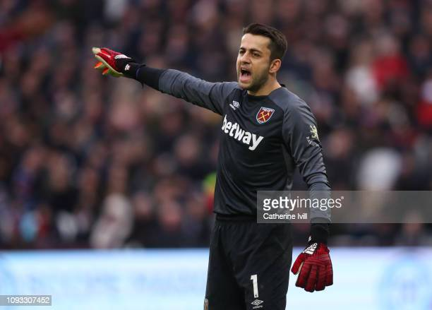 Lukasz Fabianski of West Ham United during the Premier League match between West Ham United and Arsenal FC at London Stadium on January 12 2019 in...