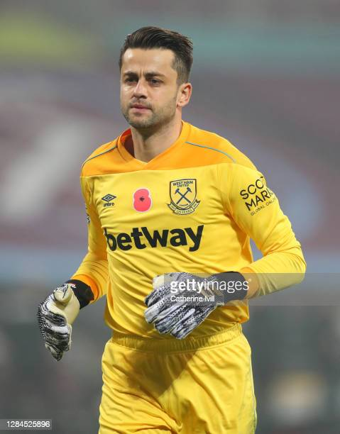 Lukasz Fabianski of West Ham United during the Premier League match between West Ham United and Fulham at London Stadium on November 07, 2020 in...