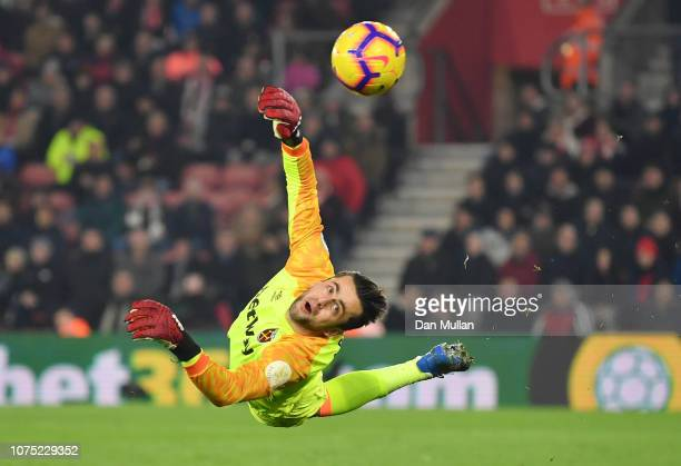 Lukasz Fabianski of West Ham United in action during the Premier League match between Southampton FC and West Ham United at St Mary's Stadium on...