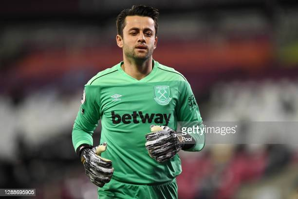 Lukasz Fabianski of West Ham United in action during the Premier League match between West Ham United and Aston Villa at London Stadium on November...