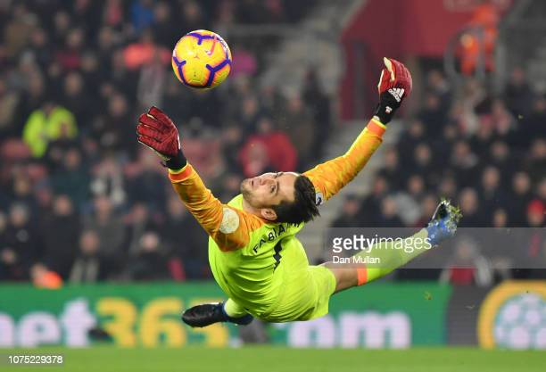 Lukasz Fabianski of West Ham United makes a save during the Premier League match between Southampton FC and West Ham United at St Mary's Stadium on...