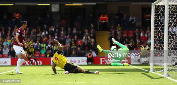 Lukasz Fabianski of West Ham United saves a shot from Troy Deeney of Watford during the Premier League match between Watford FC and West Ham United...