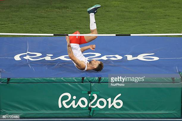 Lukasz jumps in the men's final high jump T42 during the Paralympic Games at the Olympic Stadium in Rio de Janeiro on September 9 2016