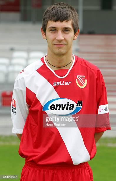 Lukasz Kanik poses during the Bundesliga 2nd Team Presentation of FC Energie Cottbus on July 13 2007 in Jena Germany